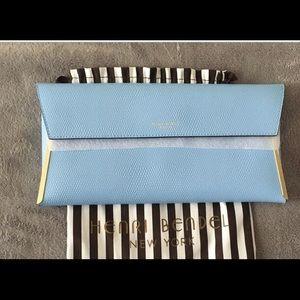 HENRI BENDEL powder blue clutch